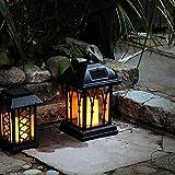 schwarze Solar Laterne mit LED Kerze und täuschend echt wirkenden Flacker-Effekt, von Festive Lights - 2