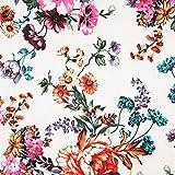 Pepelinchen Baumwoll-Satin-Print: Blumen auf weiß