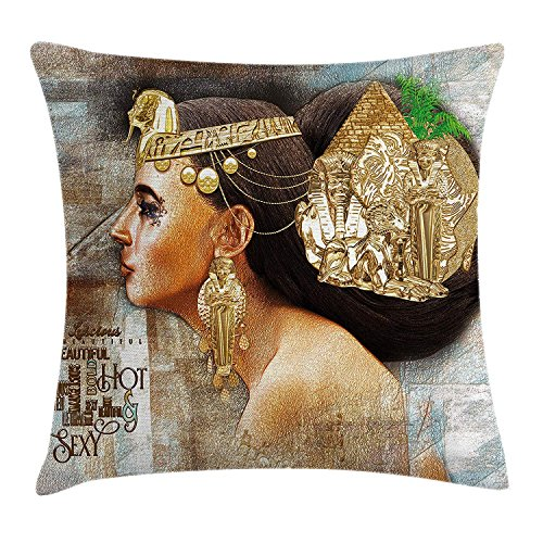 Egyptian Throw Pillow Cushion Cover, Woman Queen Cleopatra Profile Historical Art Scene with Ancient Pyramid Sphinx, Decorative Square Accent Pillow Case, 18 X 18 inches, Multicolor