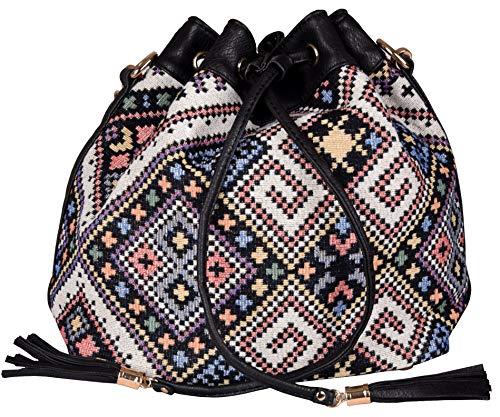 Print Hobo Bag Handtasche (Iwea Damen Handtasche Groß Umhängetasche Shopper Hobo Bag Mexiko Ethno Hippie Print, Schwarz)