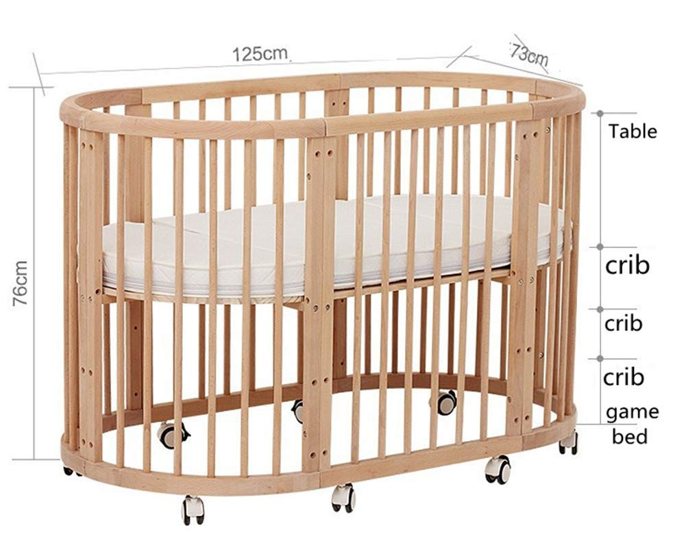 KLI 5 In 1 Multi Function Newborn Infant Crib Solid Harmless Paint Wood Baby Cradle Rocking Bed,125 * 73 * 76Cm KLI Shipping list : crib Size:125*73*76cm. Natural pine wood, harmless paint, polished and smooth, environmental wood, good for your baby 3 grade height adjustment: grade 1 (39cm from the floor)can be used for baby in 0-6 month, convenient to take out baby; grade 2 (26cm from the floor) for baby in 6-12 months and can stand independently;grade 3 (15cm from the floor) for baby in 1-3 years old. 2