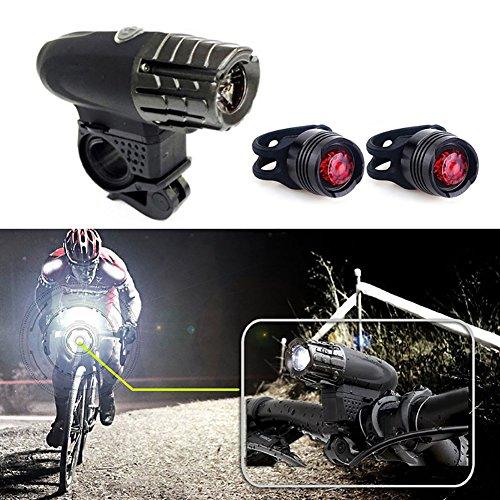 Ensemble de lumière de vélo Phare LED de sécurité arrière USB rechargeable lampe avant 2 Pierre précieuse - comme Feux arrière 30-45 m Distance de l'éclairage hautement imperméable Highlight de faible luminosité clignotant modes d'éclairage