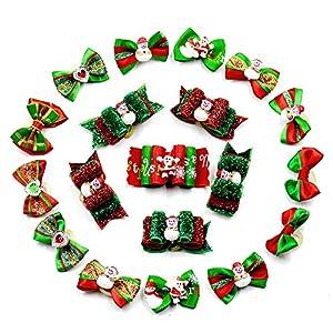 Beetest-Noël Noeud Pour Chien,20 PCS Noël Noël Santa Pet Hair Bow,Petit Noeud Pour Les Chiens Chats