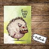 A6 Geburtstagskarte Postkarte Print Igel mit Kuchen & Spruch Happy Birthday pk166 ilka parey wandtattoo-welt®