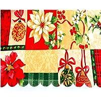 Tovaglia Natalizia, 5diversi in PVC con 1PCE vacanze di Natale decorazione bottiglia di vino borsa, rettangolare (150x 180cm circa), 100%_poliestere/poliestere, Red, E