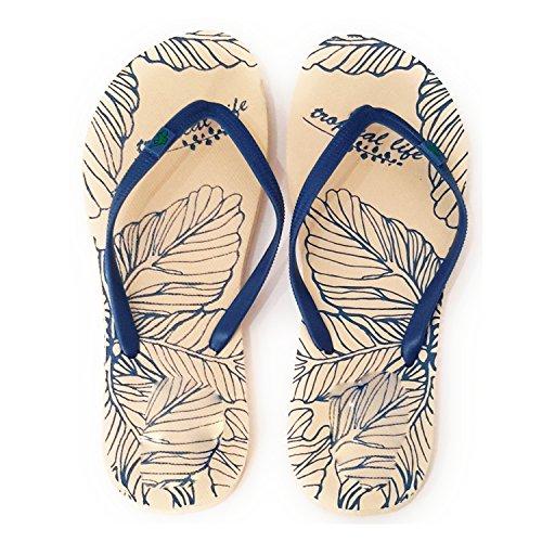 Donna Infradito Per Spiaggia e Piscina Sole Vaniglia Foglias, Nastro Blu
