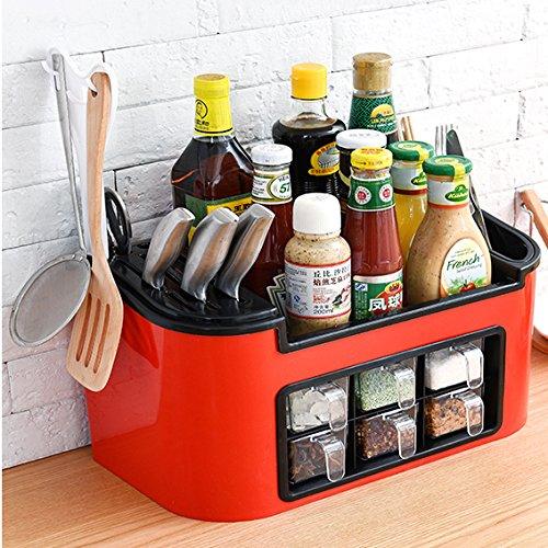SANCXF Aufbewahrungsbox Für Küche, Bodenständig Haushalt Vorratsküchenzubehör, Würze Messer Und Gabel, Essstäbchen,Red,L