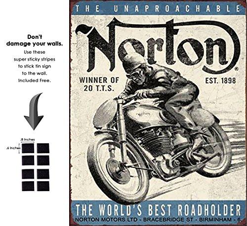 Shop72 - Blechschild Bikes Blechschild Retro Vintage Distrssed One Size Norton Winner -