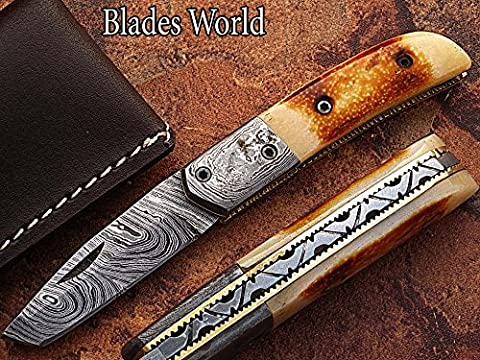 HANDMADE DAMASCUS STEEL 18CM AWESOME FOLDING POCKET KNIFE WITH GIRAFFE BONE HANDLE, BLADE UNDER 3 INCHES LEGAL TO