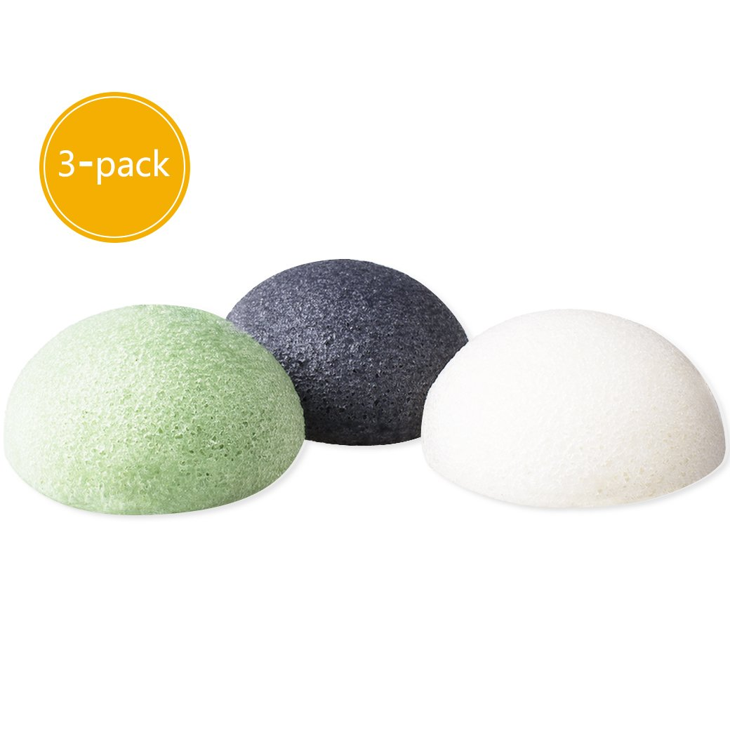 Konjac Sponge Face(3 Pack), Face Exfoliation Cleaning Sponge – Facial Sponge Puff 100% Natural, Facial Scrub Face Washer for Spot Prone Skin, Oily Skin