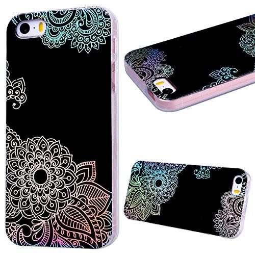 GrandEver iPhone SE / 5S / 5 Glitzer Hülle Silikon Handyhülle Gel TPU Bumper Bunt Mandala Schutzhülle Schwarz Handytasche Anti-Kratzer Rückschale Ultra Dünnen Soft Case Cover - D B