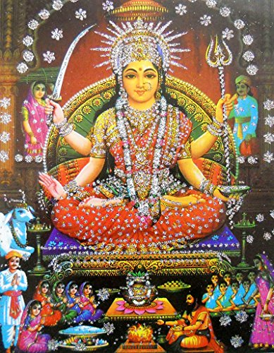 """Santoshi Mata/Hindu Goddess Poster with Glitter Effect -reprint on paper (Unframed : Size 10""""x14"""" Inches)"""