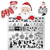 5pezzi di Natale stampa nail art modelli piatti Santa Dear Snow immagine timbro stampaggio kit manicure Salon design