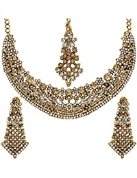 Jewels Gold Ethnic Multi Gold Plated Wedding Latest Necklace Set For Women & Girls