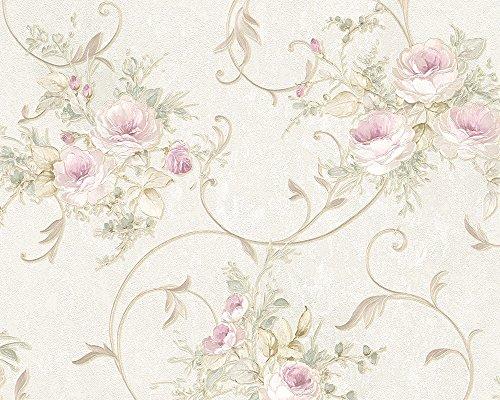 A.S. Création Vliestapete Romantica 3 Tapete mit romantischen Rosen floral 10,05 m x 0,53 m creme grün rosa Made in Germany 304202 30420-2 Romantica Rosen