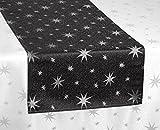 Lurex Sterne Tischläufer, Gold oder Silber glänzend, Weihnachtstischband Größe wählbar (Eckig 40x140 cm Grau-Silber)