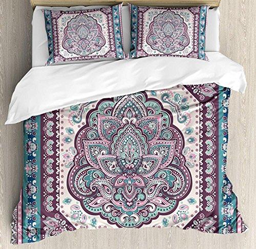 Ethnische 3-teiliges Bettwäsche-Bettbezug-Set, Böhmisches Hippie-Mandala-Arabisch-Paisley-Oriental-Asiatisches Design, 3-teiliges Tröster- / Qulit-Bezug-Set mit 2 Kissenbezügen, Lila, Hellrosa und Pet -