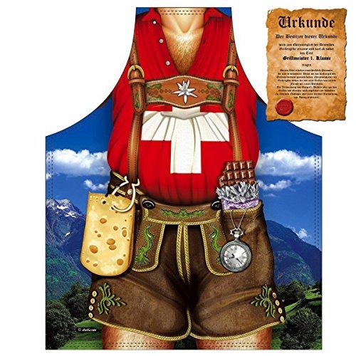 Grillschürze für lustige Schweizer / Tracht : Schweizer Mann !! mit GRATIS Urkunde !! One (Der Trachten Schweiz Für Männer)