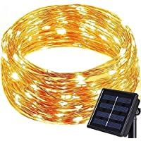 Kingcoo® Striscia luminosa [8modalità], filo di rame, a energia solare, 10metri, 100 LED, impermeabile, stelle, (Angolo Gazebo)