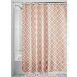 iDesign Trellis Textil Duschvorhang | Duschabtrennung für Badewanne und Duschwanne mit Spalier-Motiv | 183 cm x 183 cm Vorhang aus Stoff | Polyester orange