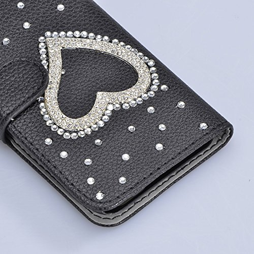 3D Coque iPhone 8 Plus Housse Étui 3 en 1 PU Cuir Case, Vandot Luxe Brillant Diamant Coque Bling Bling Cristal Strass Cover Motif Ange Elf Couverture Magnetic Flip avec Support Stand Wallet Case pour  Diamant 28