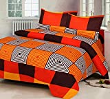 Super India Printed 130 TC Polycotton Double Bedsheet with 2 Pillow Covers - Orange