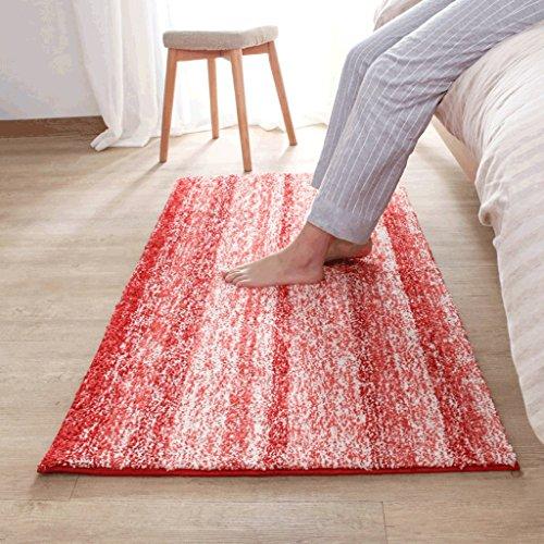Mjb Color Home Teppich, kreative Gestreifte Dicke Wohnzimmermatten Küche Bett Warmer Teppich, 120 * 150CM-RED