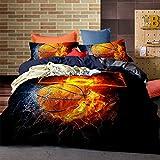 Cnspin 3D Basketball Print Bettwäsche Schlafzimmer Soft Comfort Bettbezug-Sets Mit Kissenbezügen 3 Teilige Teenager Wohnheim Bettdecke, A, 150X210Cm