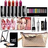 Adbeni Combo Makeup Set (10-Color Eyeshadow,Eyeliner, Lip Balm 3Pcs, Kajal,Compact Powder,Lipstick & Gold Makeup Pouch) Pack