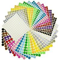 Witasm 5280 Gommettes Autocollantes Rondes Étiquette Ronde Autocollante 32 Feuilles 16 Pastille de Couleurs Ø 1/2 et 3/4 Pouce Round Dot Autocollant Stickers Enfants Loisirs Creatifs