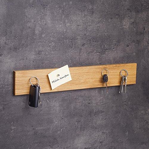 WOODS Schlüsselbrett magnetisch Holz - viele Varianten (in Bayern handgefertigt) 45cm Eichen-Schlüsselhalter mit Magnet/Moderne Schlüsselleiste als Board Schlüssel-Aufhänger/Eichenholz (Magnetische Haken Bild Aufhänger)