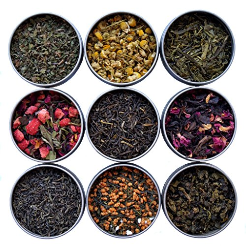 Heavenly Tea Leaves 9 Flavor Variety Pack, Loose Leaf Tea Sampler, 9 Assorted Loose Leaf Teas & Herbal Tisanes