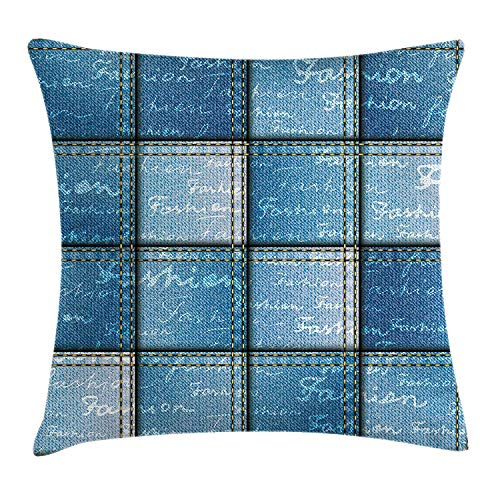XIAOYI Farmhouse Decor Throw Pillow Cushion Cover, Double Exposure Jean Pattern on Denim Color Backdrop with Regular Lettering Image, Decorative Square Accent Pillow Case, 18 X 18 inches, Blue - Dittos Jeans