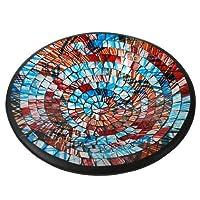 Bomzers Bargains Beautiful Mosaic Handmade Ceramic Glass Round Tile Bowl Dish Fruit Decoration Earrings (Blues & Reds)