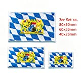 hegibaer 3 Freistaat Bayern Wappen Flaggen München BRD Patch Aufnäher Aufbügler Set 1066