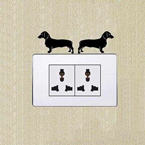 Dackel (Links & Rechts) niedlichen Hund Schalter Aufkleber Dekoration Wand Aufkleber 2 SS - Halloween-dackel