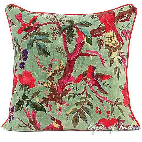 Baumwolle Samt Wurf Kissen (Eyes of India bunt samt Vogel Wurf Sofa Kissen Sofa Kissenbezug Boho dekorativ Böhmisches Indian - Grün, 16 X 16 in. (40 X 40 cm))