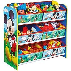 hellohome Disney Mickey Mouse Enfants Chambre à Coucher Meuble de Rangement avec 6bacs