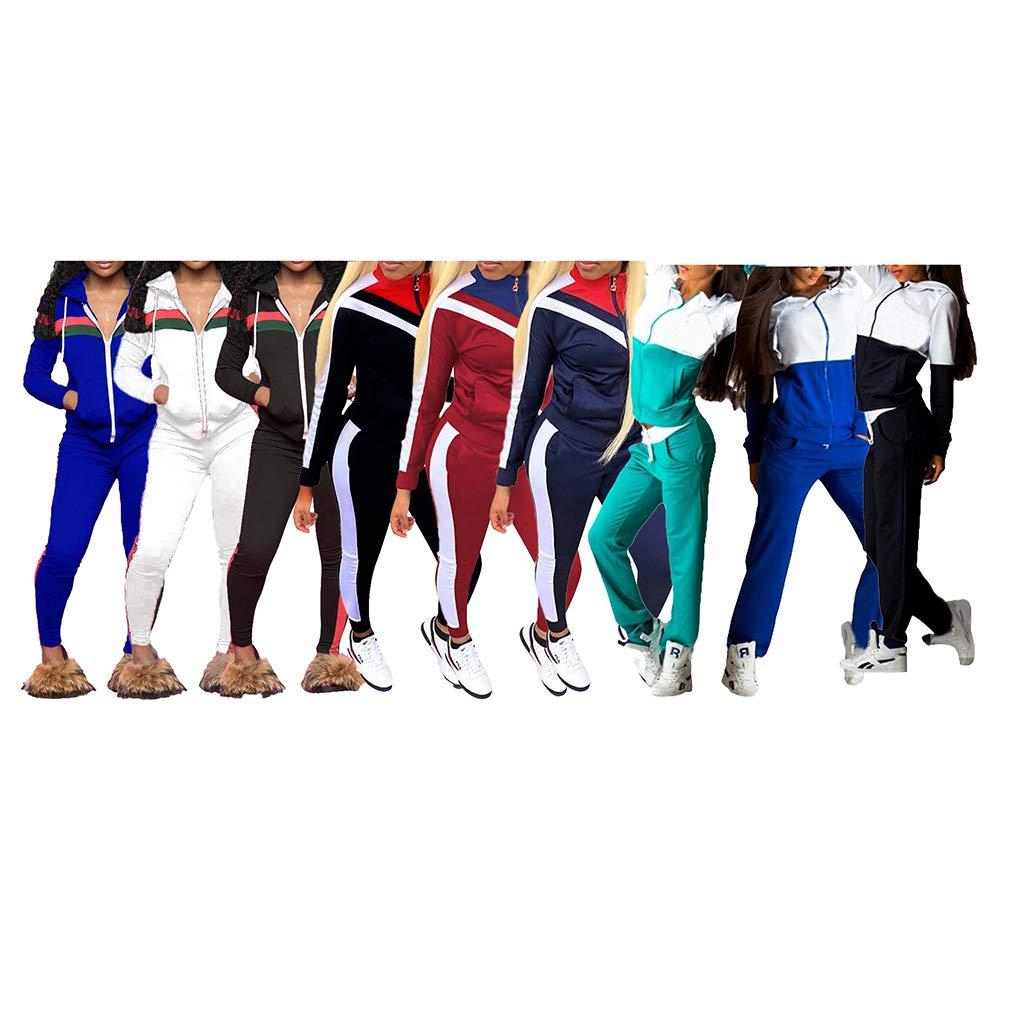 062cfbe5b3 Due Pezzi Tuta da Ginnastica Donna, Moda Colore Impiombato Cerniera  Giubbotto e Pantaloni Lungo Tuta Jogging Training Sportiva Casual  Abbigliamento ...