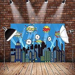 AerWo 7 x 5 Ft City Fotografía Telón de poliéster Superhéroe Foco Brillante Estrellas Noche Ciudad Fotografía Fondo para Niños Cumpleaños Fiesta Decoración