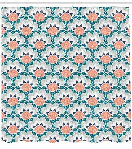 ABAKUHAUS Floreale Tenda da Doccia, Mandala Turco Ottomano Arabesco Fiori Sacro Orientale Classico Motivo Bohemien, Resistente ai Batteri e alla Muffa, 175 x 240 cm, Multicolore