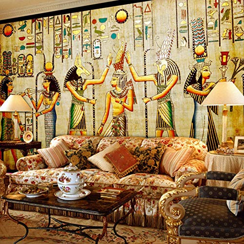 Mural Custom Wall Mural Wallpaper Egyptian Figures Large Wall Murals Living Room Restaurant Bedroom Home Decoration Classic Wall Paper 3D, 290Cm (H) × 480Cm (W)