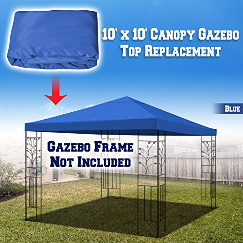 BenefitUSA 10'X10' Replacement Top Gazebo Canopy Cover Patio Pavilion Sunshade Plyester Single Tier (Blue) - Canopy Top Cover