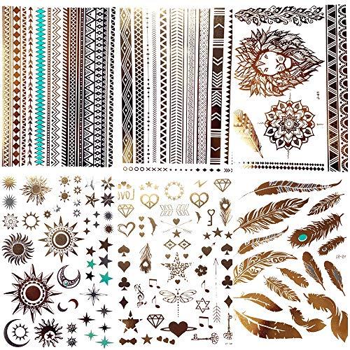 Coktak 6 fogli tatuaggi temporanei oro metallico per le donna bohemien luna stella leone braccialetto grande boho gioielli falsi impermeabile tatuaggio flash ragazze braccio brillare piuma tattoos