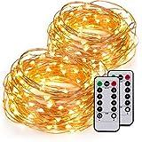 2 Stück Kupferdraht Sternen Lichterkette Batteriebetrieben, Kohree Wasserdichte Lichterkette Warmweiß mit Fernbedienung, 8 Modi 60 LED String Lights 6M/20ft für Weihnachten, Hochzeit, Party