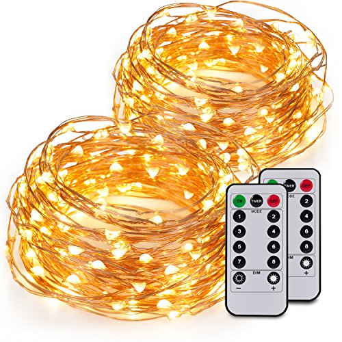 Kohree 2 pcs 60 LED 20ft Battery String Lights with Wireless Remote Control,Warm White