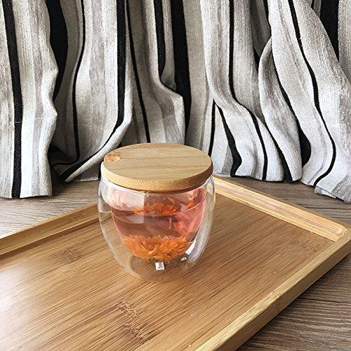 Damlonby Verre résistant à la chaleur de la couche double plateau tasse tasse tasse tasse isotherme jus transparent ,250ml tasse + ouverture d'un anneau en caoutchouc couvercle en bambou