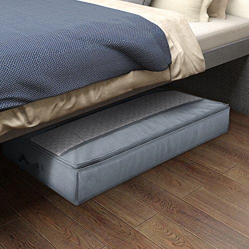Lifewit Unterbett Aufbewahrungstasche 75L große Kapazität mit klaren Fenster für Bettdecken Decken Bettwäsche Bettdecken Kleidung Quilts Kissen Pullover, Grau (Bettdecken Bett-tasche)