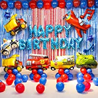 Transportation Birthday Party Decoration Supplies Car Balloons School Bus Fire Truck Police Vehicles Balloons for Kids Party Baby Shower Decorations