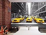 WH-PORP New York Yellow Taxi Große Wandbild Schwarz-Weiß-Wohnzimmer 3D-tapete-450cmX300cm